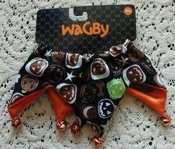 Dog Scrunchie Size M/L black and glitter pumpkins dogbone orange bells - $5.18