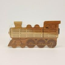 Train Engine Locomotive Cribbage Board Cherry Wood Maple Landmark U.S.A.  - $24.99