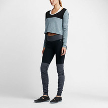 $150 Womens New Legendary Nike Ribbed Leggings Run Yoga Pilate Black Gray Gym XL - $72.00