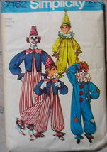 Uncut Vintage Pattern For 3 Adult Size Clown Costumes Size Small - 34  S 7162 - $7.00