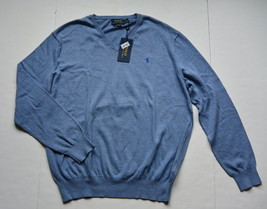 Polo Ralph Lauren Pima Cotton Sweater L V-Neck Mens Blue Pony Pullover New - $49.95