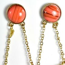 "Mode Dark Pink Peach Shourouk Style Look Lucite 2.75"" Drop Dangle Post Earrings image 3"