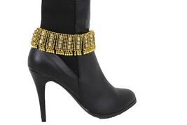 Moda Donna Stivali Catenina Spalline Larghe Vintage Oro Metallo Campane - $27.48