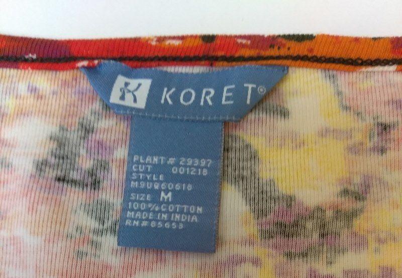 Koret Womens Top Size Medium Multi Color Bright Casual