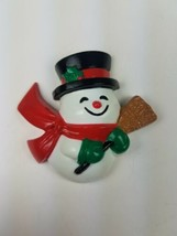 Vintage Hallmark Christmas Magnet 1989 Snowman w/ Top Hat & Broom - $9.65