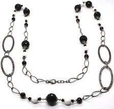 Silver 925 Necklace Burnished,Onyx,Spinel,Length 100 cm Chain, Oval - $185.44
