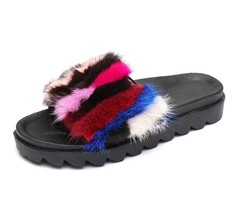 CCA Women Slides Slippers, Real Mink Fur Slide Sandals With Arch Support... - £37.77 GBP