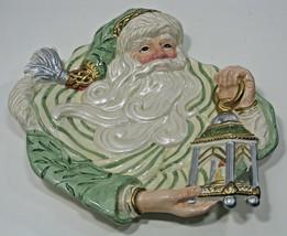 Fitz Floyd Xmas Holiday Santa Plate Platter Gregorian Old World Lantern ... - $28.49