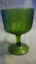 """VINTAGE 6.5"""" TALL GREEN GLASS GOBLET WITH LEAVES ON THE SIDES - $19.79"""