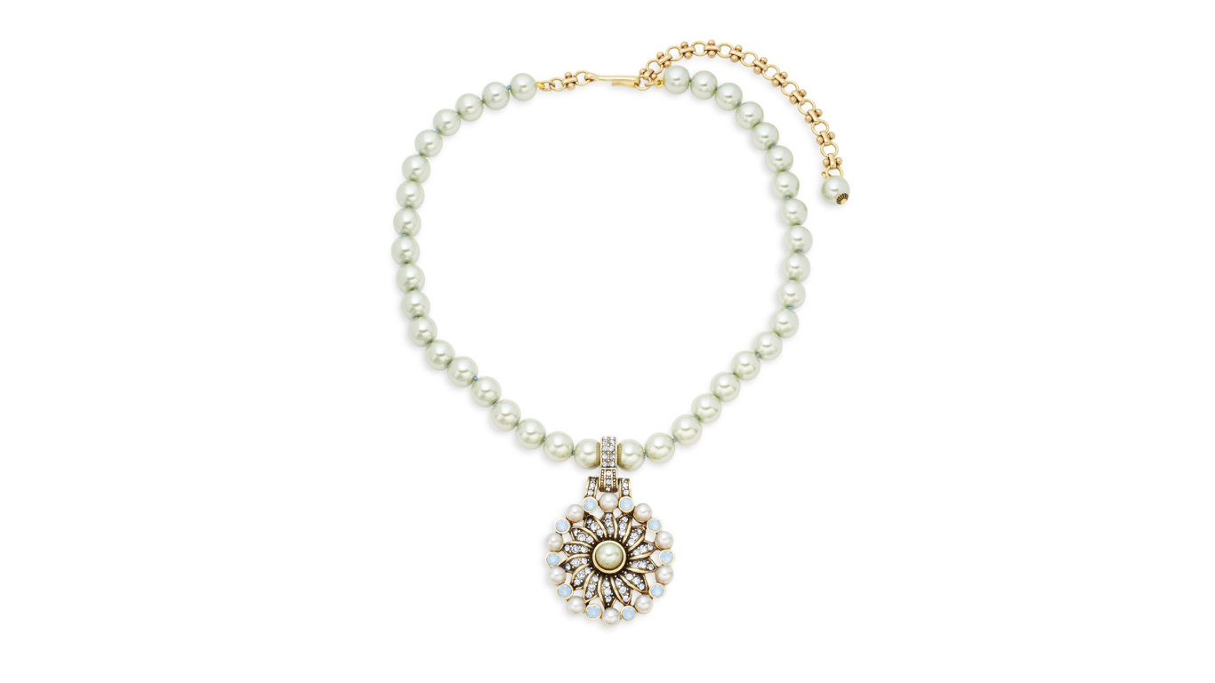 Heidi Daus Faux Pearl Pinwheeled Swarovski Crystals Bronze tone Necklace image 2