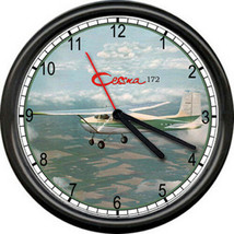 Cessna 172 Green Aircraft Pilot Airplane Personal Aircraft Sign Wall Clock - $21.12
