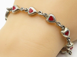 925 Silver - Vintage Carnelian Inlay Love Heart Linked Chain Bracelet - ... - $57.98