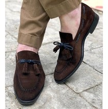 Handmade Men's Chocolate Brown Slip Ons Loafer Suede Shoes image 3