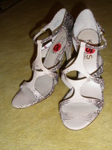 New KORS by Michael Kors T-strap Leather Snake Python Sandals Shoes Sz 1... - $63.57