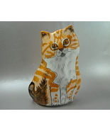 Cats By Nina Lyman Orange Ginger Tabby and White Kitty Cat Flower Vase 8... - $25.00