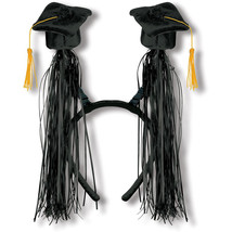 Grad Caps w/Fringe Boppers (black) Party Accessory 1 head piece - $9.89