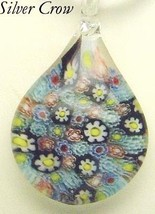 Murano Milifiori Blue, Black, White, Yellow & Red Teardrop Pendant Necklace - $18.99