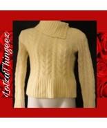 Banana Republic S Lambs Wool 50% Angora Rabbit Cable Knit Sweater Ivory ... - $29.69