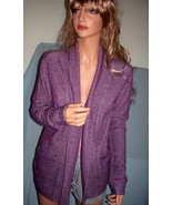 Small 4 6 Purple Grape Sweater Jacket Fly Away Open Cardigan w Pockets C... - $29.99