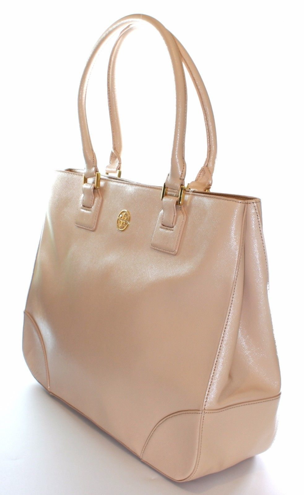 Primary image for Tory Burch Robinson Tote Bag Dark Sahara Pale Pink Leather Large Handbag