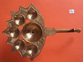 Rare Brass 5 Jyot Designer Diya Aarti Puja RELIGIOUS EDH Oil Lamp Navratri  - $24.68