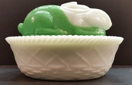 Antique 1900s Westmoreland Green and White Milk Glass Rabbit Lidded Candy Dish - $80.00