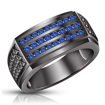 14k Black Gold Finish 925 Solid Silver Blue Sapphire Mens Engagement Ring Band - $104.99