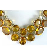 Golden Topaz and Citrine Table-Top Faceted Ovals Sterling Silver Necklac... - $338.88