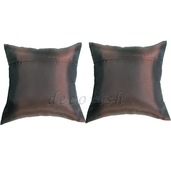 Set 2 BROWN Silk Decorative Pillow Cases with Middle Stripe - Pillows