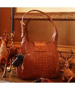 Concealed Carry Crocodile Print Leather Hobo Ha... - $289.99