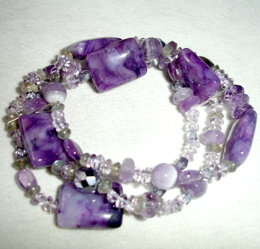 Primary image for Lenox Amethyst Three Row Stretch Bracelet Assorted Bead was $150 New