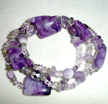 Lenox Amethyst Three Row Stretch Bracelet Assorted Bead was $150 New - $49.90