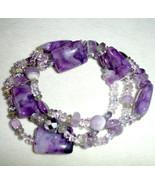 Lenox Amethyst Three Row Stretch Bracelet Assorted Bead was $150 New - $49.90