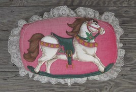 ROCKING HORSE CHRISTMAS PONY PILLOW Hand Crafted 3D QUILTED LACE 16 x 12... - $23.74