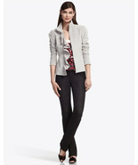 New White House Black Market Grey Gray Suede Ruffle Zip Front Coat Jacket Blazer - $95.00