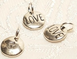 Round LOVE Charm - 925 Sterling Silver - Disk Circle image 1