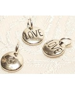 Round LOVE Charm - 925 Sterling Silver - Disk Circle - $7.91