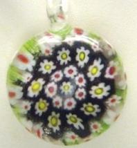 Murano Milifiori Black, White, Red & Lime  Green Pendant Necklace - $18.99