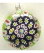 Murano Milifiori Black, White, Red & Lime  Green Pendant Necklace - $18.99