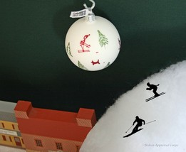 Crate & Barrel On The Slopes Ornament -NWT- Noel Fun Is All Downhill From Here! - $15.95