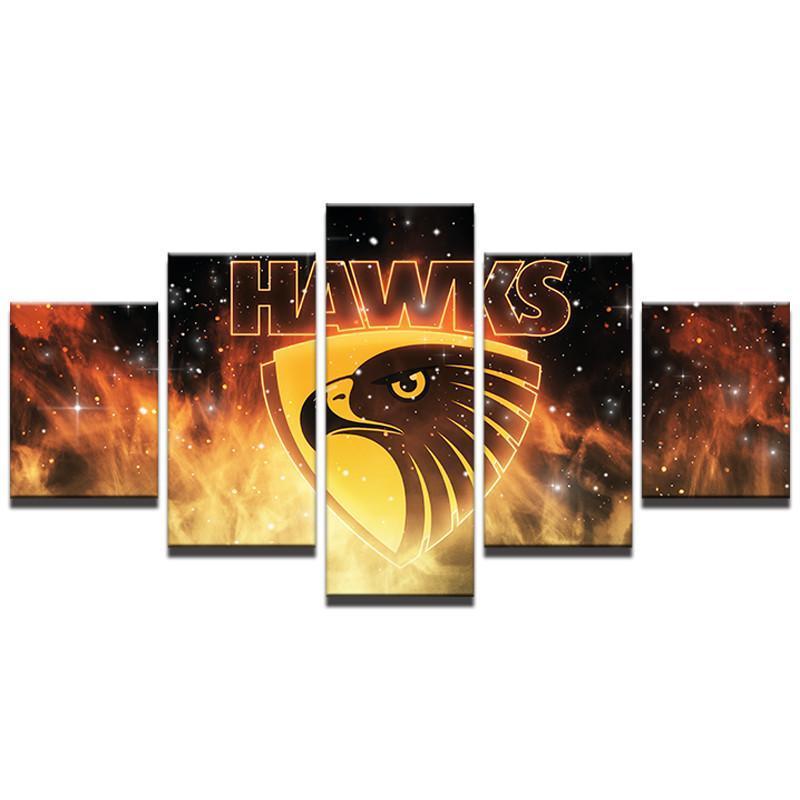 Hawthorn AFL Hawks 5 Piece Football Club Legend Home Decor Canvas Art Print