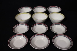 "12pc Vintage Syracuse Syralite HONEYCOMB & RED/GRAY BAND 5.25"" & 4.5"" Bo... - $59.99"
