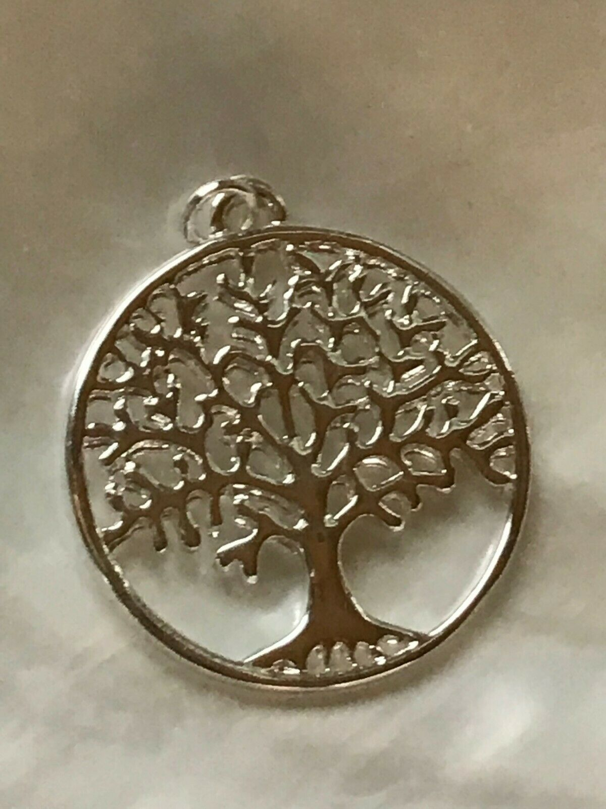 Primary image for Estate Open SIlvertone Circle with Cut-out Deciduous Tree Pendant – 7/8th's inch