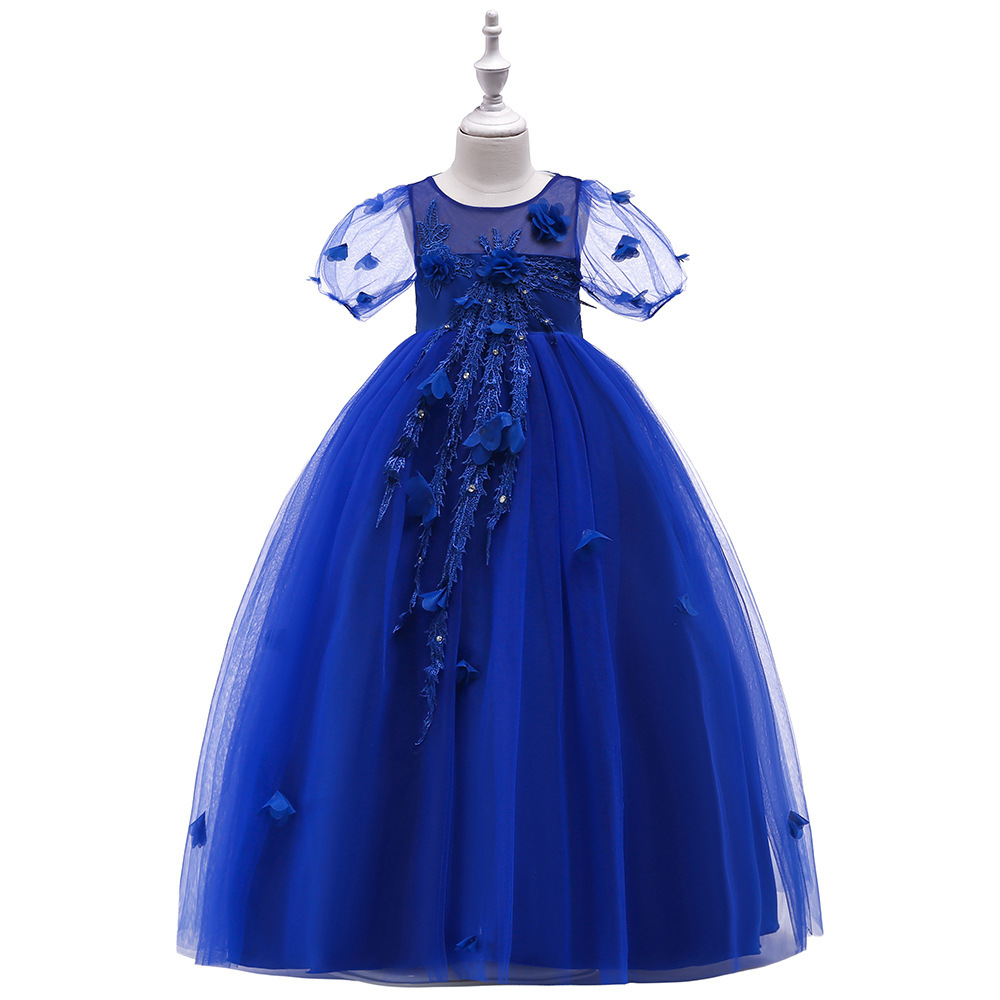 Sexy Blue  Tulle Lace Flower Girl Dress A Line Wedding Party Gowns A Line 2019
