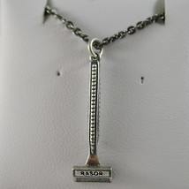 925 Silberne Halskette Brüniert Anhänger Rasierer Barbier Bart Made in Italy image 1