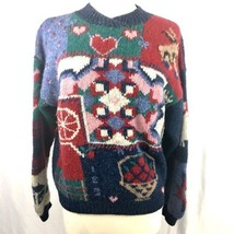 Woolrich Sweater Womens Size XL 100% Pure Wool Knit Heart Multicolor Pat... - $558,16 MXN