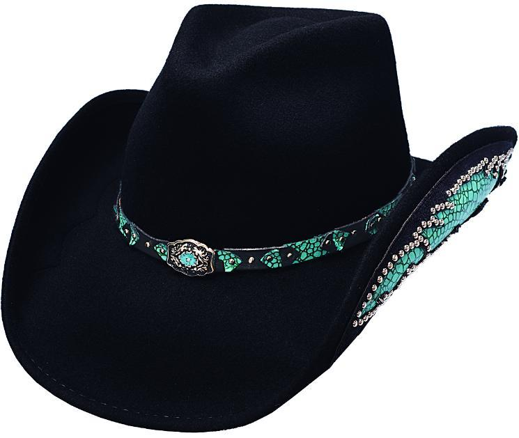 Primary image for Bullhide Natural Beauty Premium Wool Cowgirl Fancy Underbrim Black Silverbelly