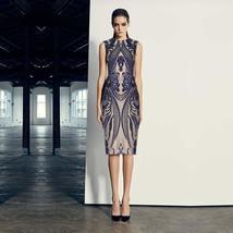 New Fashion Sleeveless Elegant Blue Bodycon Evening Party Bandage Dress image 2