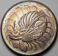 1969 SINGAPORE 50 CENTS UNC COLOR BU WONDERFUL RAINBOW TONED (DR) - $29.45