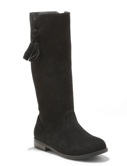 Cat & Jack Girls Black Helena Faux Suede Mid Calf Riding Fashion Boots sz 13 NEW